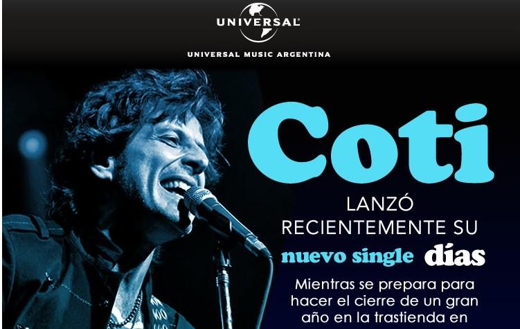 Coti presenta su single «Días» en video y se prepara para el show en La Trastienda